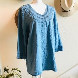 INTRO denim chambray tunic top shirt embroidered